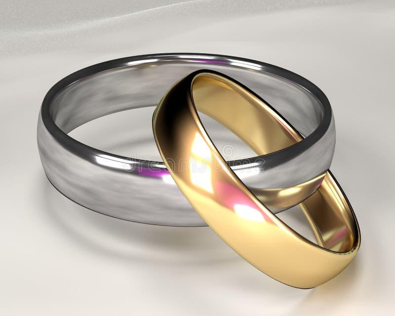 Alianças de casamento do ouro e da prata imagem de stock