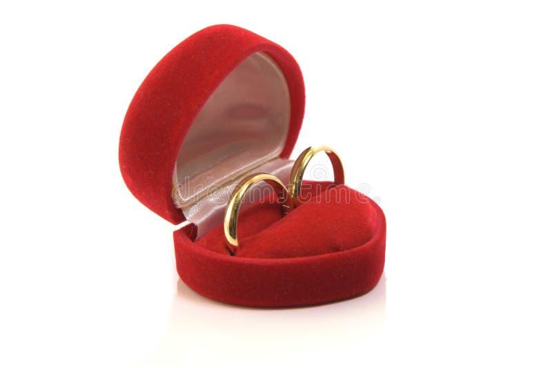 Alianças de casamento do ouro na caixa vermelha imagem de stock