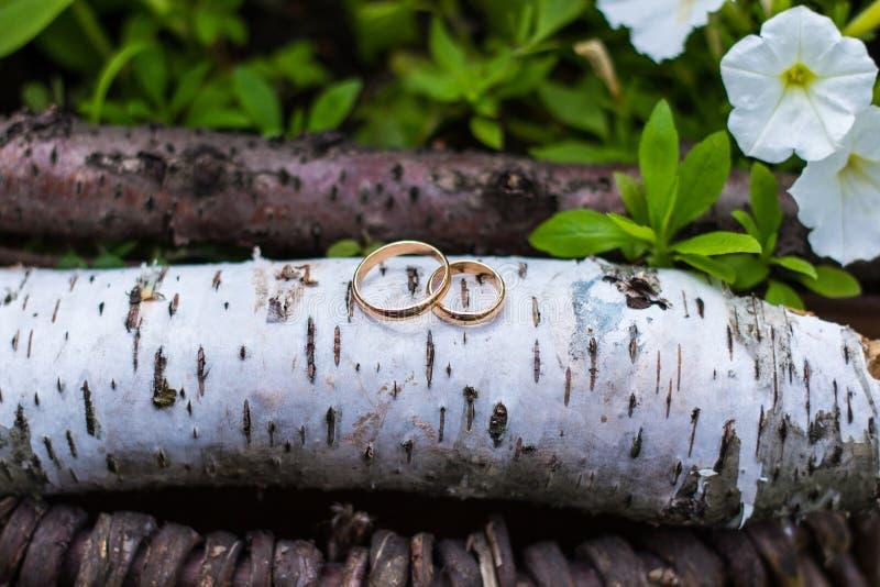 Alianças de casamento do ouro no ramalhete das flores para a noiva fotos de stock royalty free