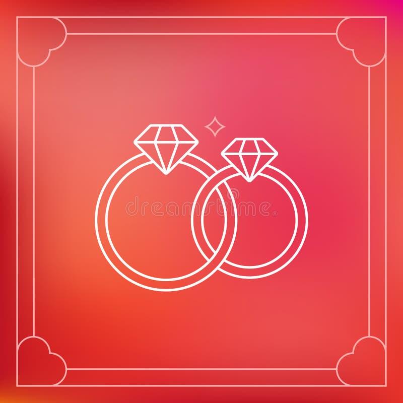 Alianças de casamento do vetor no estilo do esboço ilustração stock