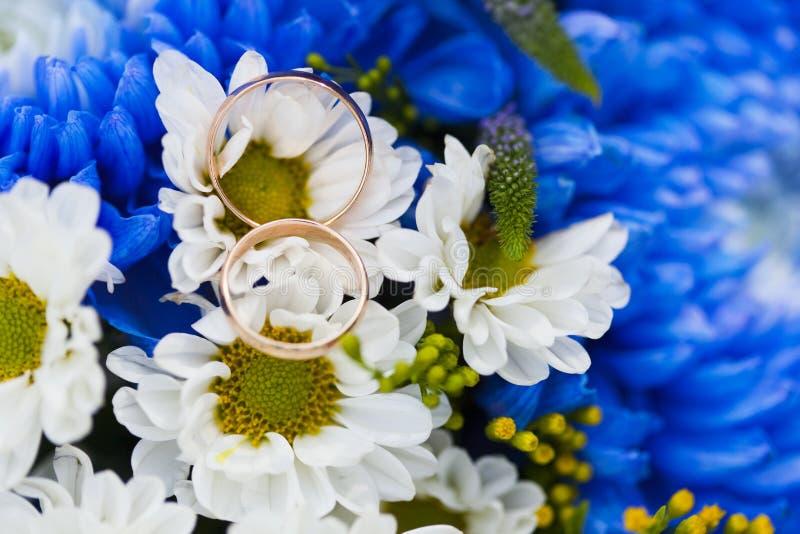 Alianças de casamento douradas no crisântemo e na camomila azuis do ramalhete f do casamento imagem de stock
