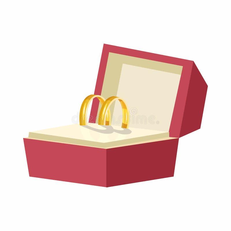 Alianças de casamento em um ícone vermelho da caixa, estilo dos desenhos animados ilustração stock
