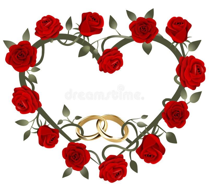 Alianças de casamento entrelaçadas douradas no coração das rosas vermelhas ilustração do vetor