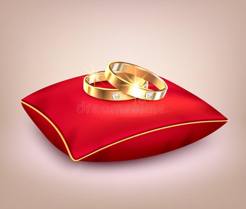 Alianças de casamento no descanso cerimonial vermelho ilustração stock