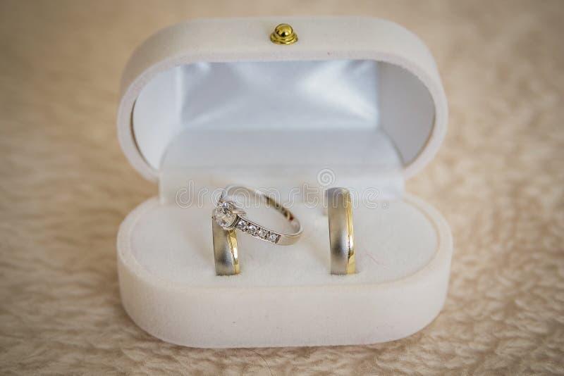Alianças de casamento, alianças de casamento no dia do casamento imagem de stock royalty free
