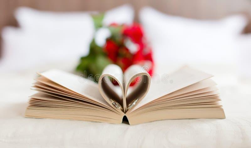Alianças de casamento no livro fotos de stock royalty free