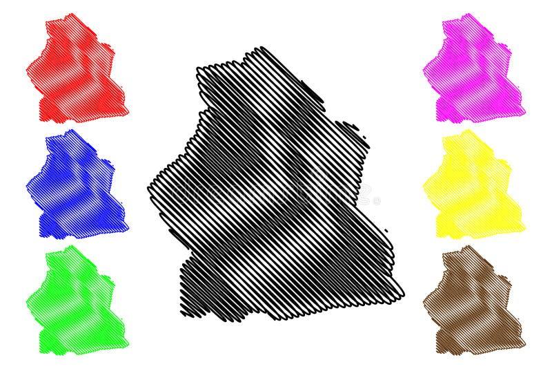 Alibori-Abteilungs-Abteilungen von Benin, Republik Benin, Dahomey Karten-Vektorillustration, Gekritzelskizze Alibori-Karte vektor abbildung