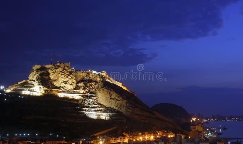 Alicante Bij Nacht Royalty-vrije Stock Foto