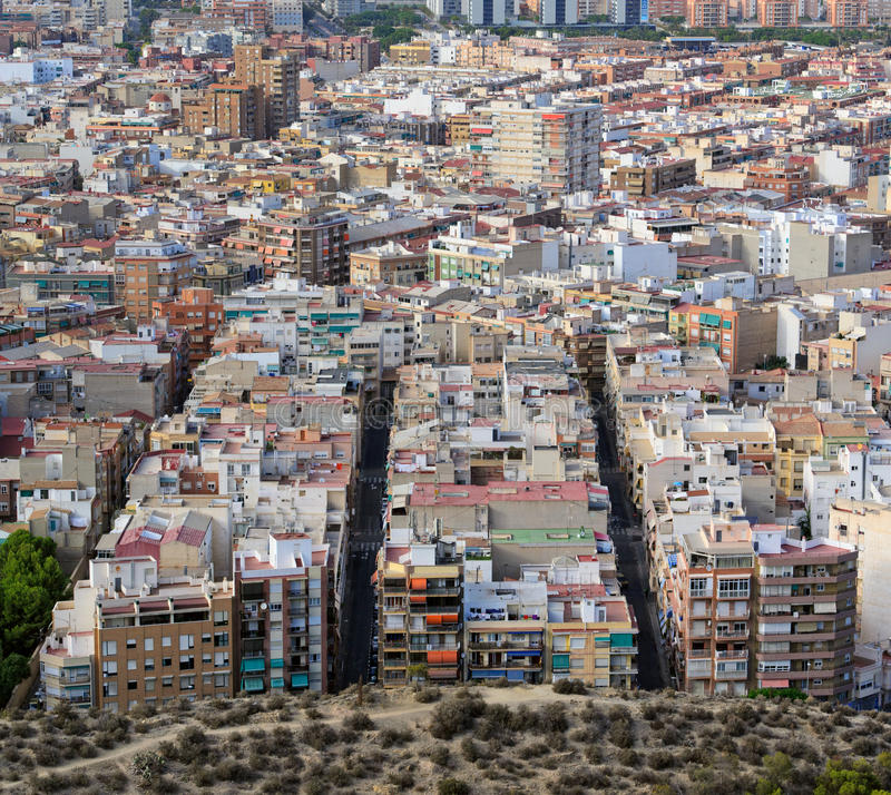 Alicante Cityscape. Houses sight among urban buildings Alicante, Spain stock images