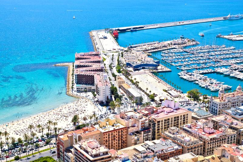 Alicante, Espanha, vista aérea imagem de stock royalty free