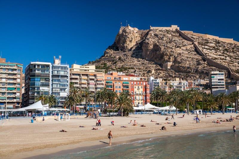 Alicante beach and castle stock photo
