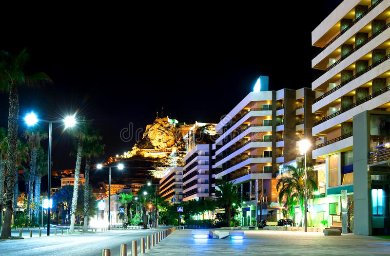 Download Alicante at night. Spain stock photo. Image of fortress - 21401524