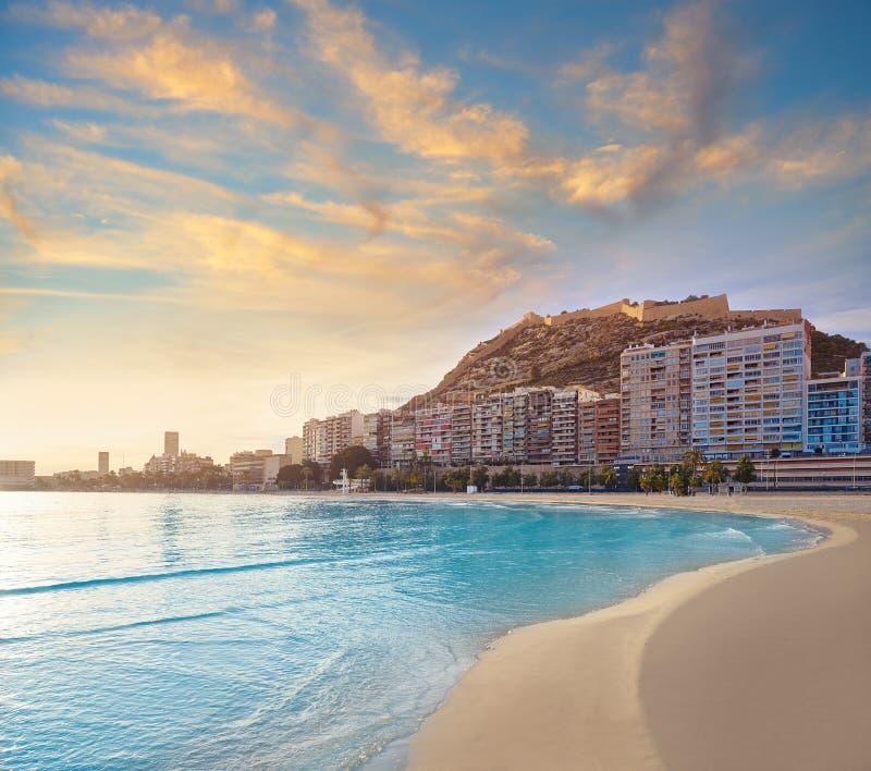 Alicante Postiguet beach in Costa Blanca. Of Spain stock photos