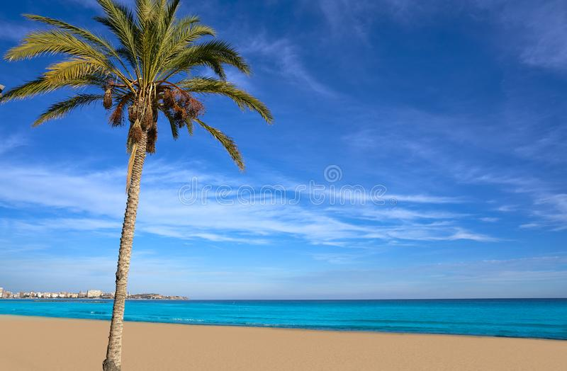 Alicante Postiguet beach in Costa Blanca. Of Spain royalty free stock images