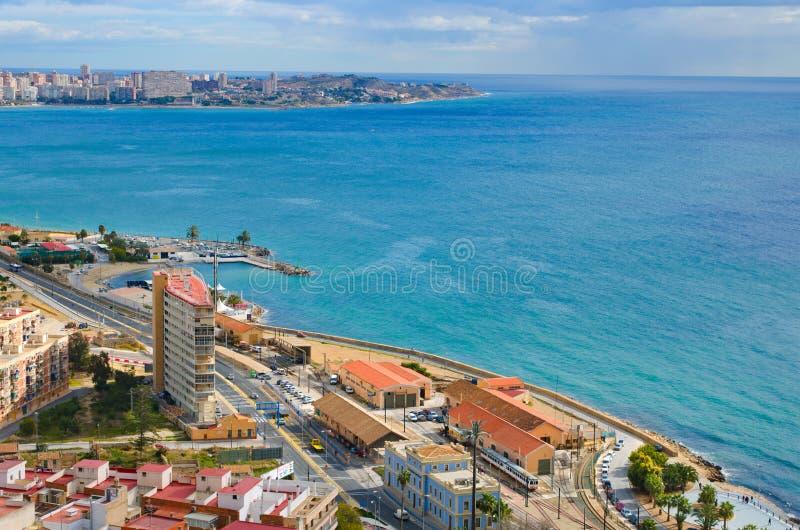 Alicante-Seepanorama, Valencia, Spanien stockbilder