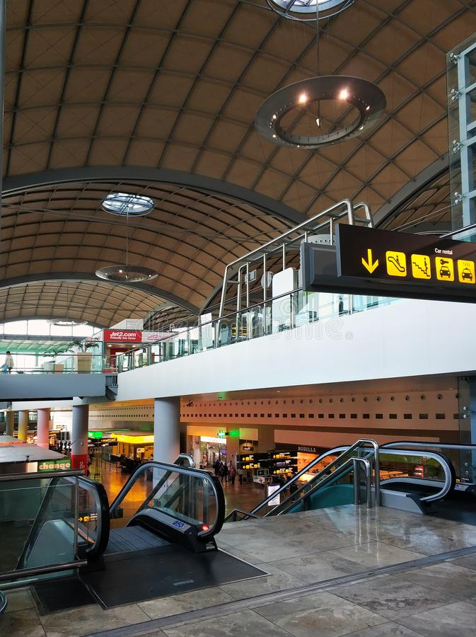 Terminal interior area for arrival travel passenger in the airport. Alicante, Spain - April 03, 2018: Terminal interior area for arrival travel passenger in the royalty free stock photography