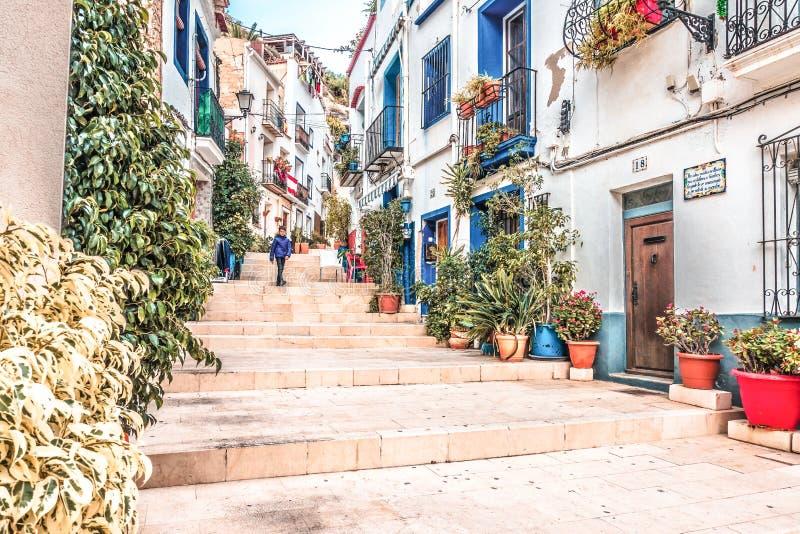Alicante, Spain, December 14, 2017: Beautiful street in Alicante city, Costa Blanca, Spain. Alicante, Spain, December 14, 2017: Beautiful old street in Alicante stock image