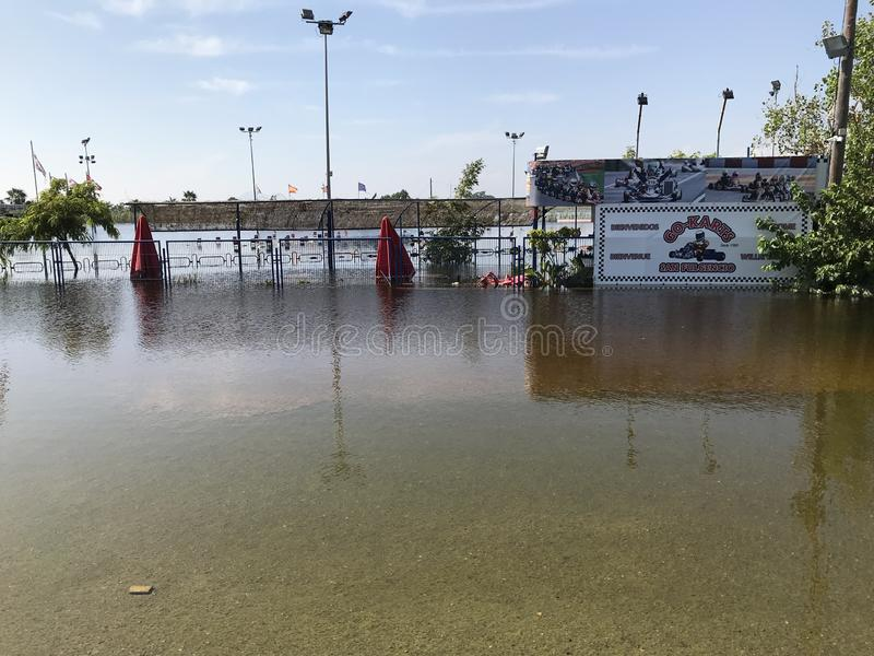 Depiction of flooding after a hurricane. Suitable for showing the devastation wrought after storms. Alicante, Spain stock photos