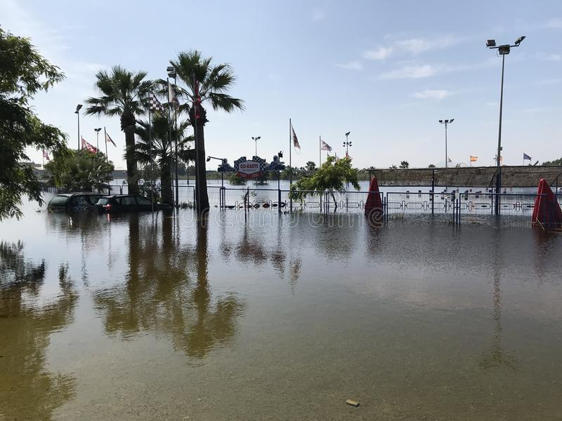 Depiction of flooding after a hurricane. Suitable for showing the devastation wrought after storms. Alicante, Spain stock photography