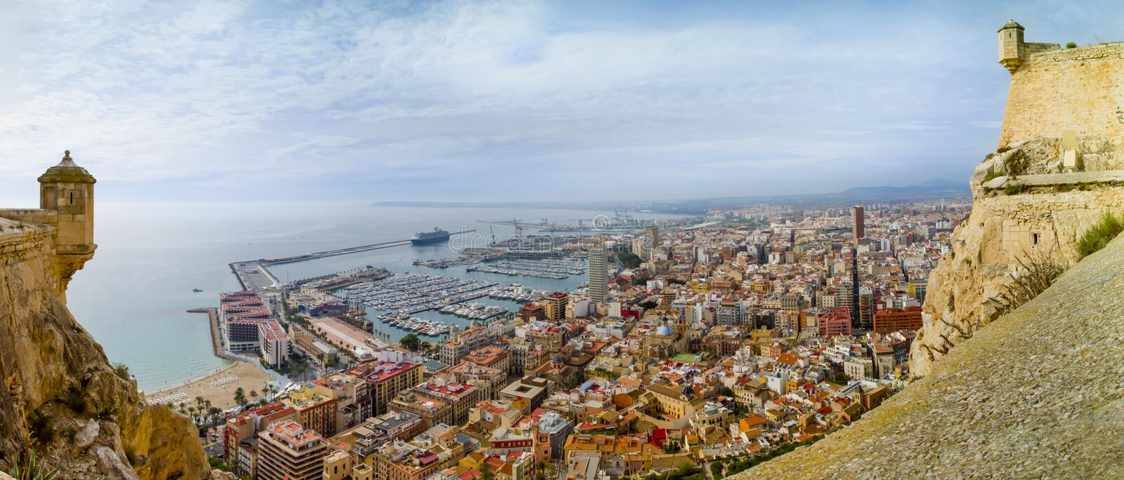 Alicante Through Spanish Castle Royalty Free Stock Image