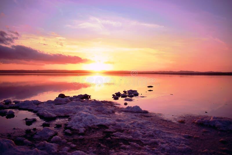 Alicante, Torrevieja, salt lakes of torrevieja,sunset stock image