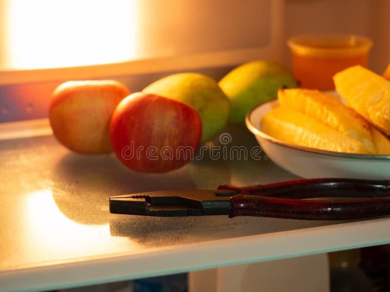 Alicates no refrigerador foto de stock
