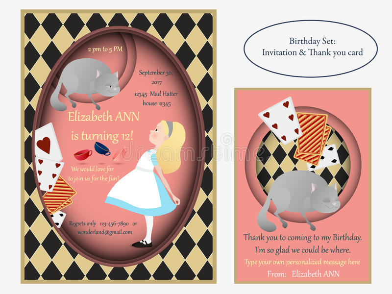Alice au pays des merveilles Cheshire Cat Invitation d'anniversaire illustration de vecteur