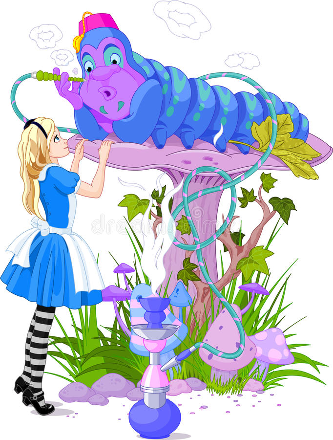 Alice and Blue Caterpillar vector illustration