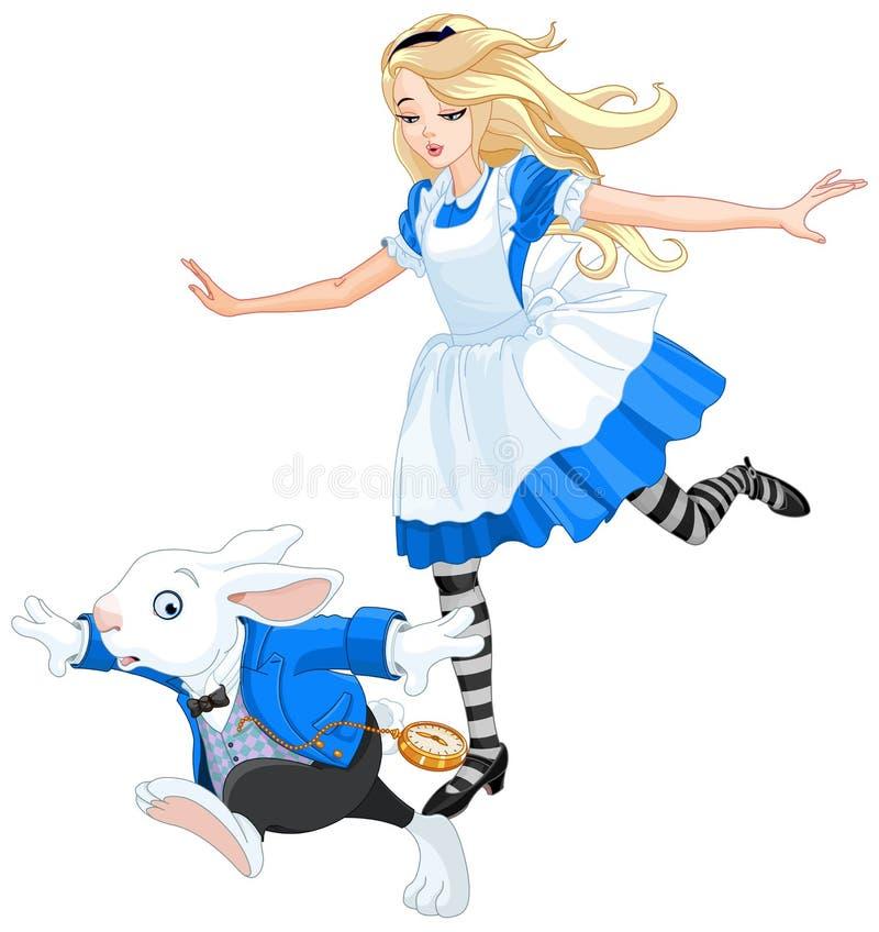 Alice Chasing After il coniglio illustrazione vettoriale