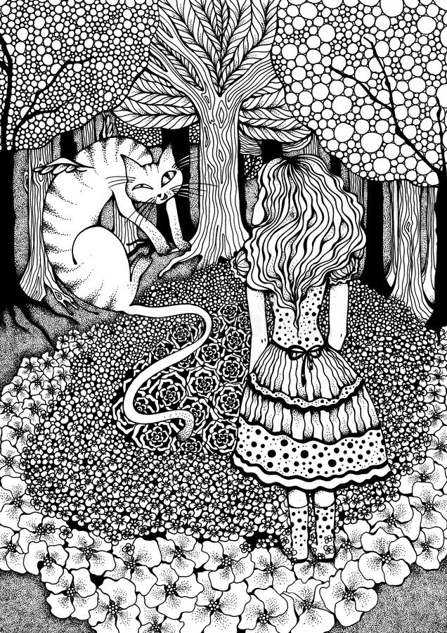 Alice and Cheshire Cat. Alice Talks to Cheshire Cat royalty free illustration