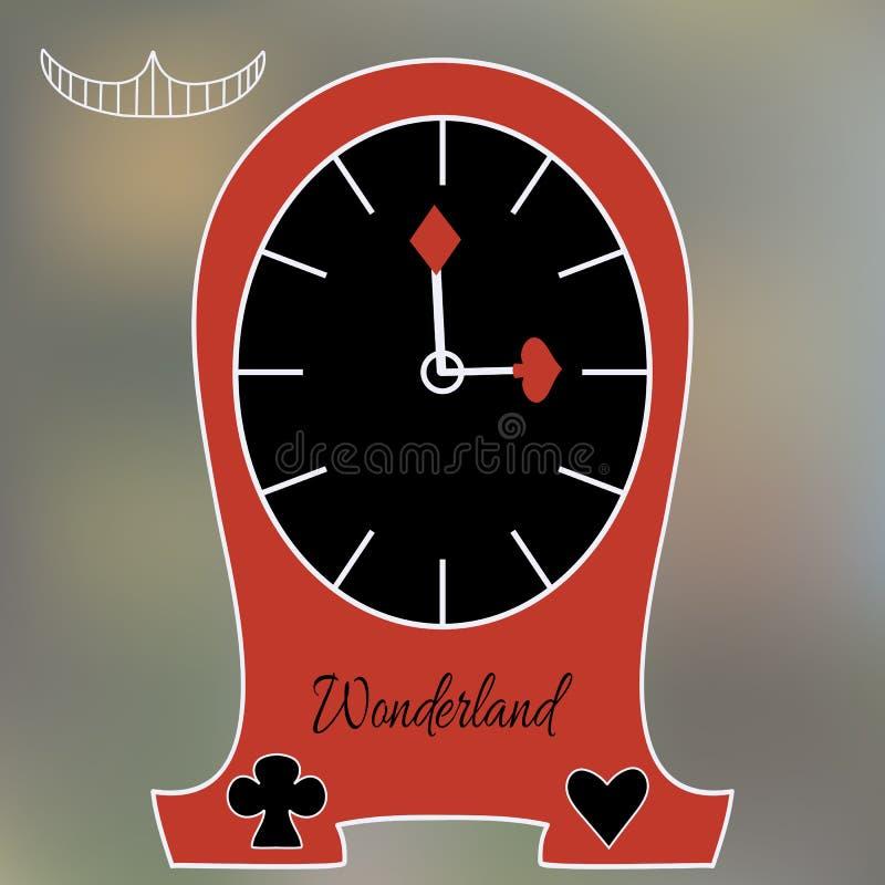 Alice Clocks van de Wereld van het Sprookjesland stock illustratie