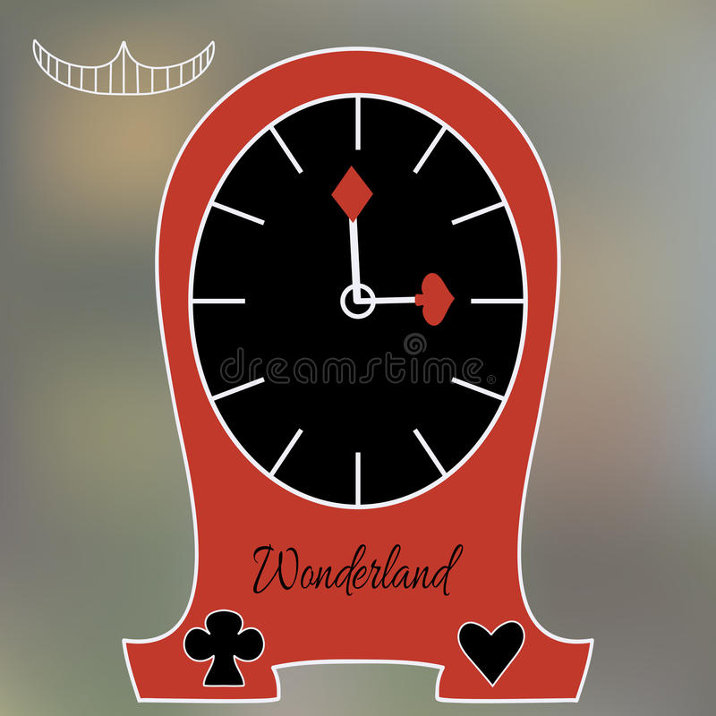 Alice Clocks from Wonderland World. Tea Party, Birthday, Children Party, Bridal Shower. Vector illustration for graphic projects, Real Life Parties and stock illustration