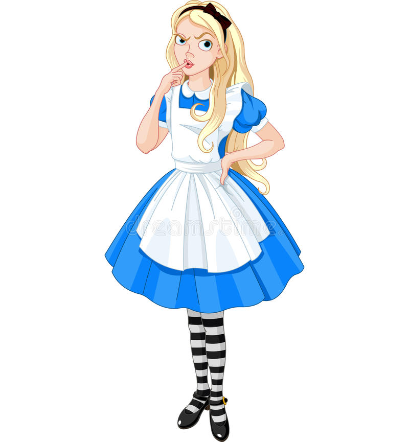 Alice de pensamento ilustração royalty free