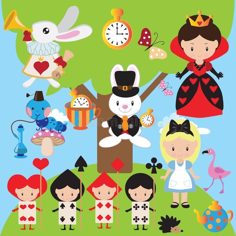 Alice in der Märchenlandvektorabbildung lizenzfreie stockbilder
