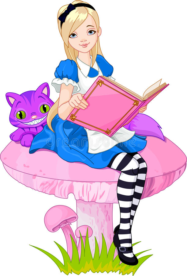 Alice, die Buch anhält lizenzfreie abbildung