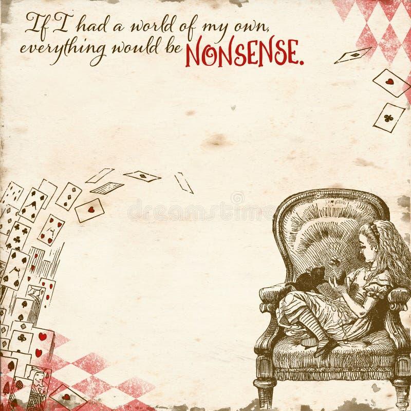 Alice in documento introduttivo del paese delle meraviglie - carta capricciosa dell'album per ritagli del paese delle meraviglie  illustrazione di stock