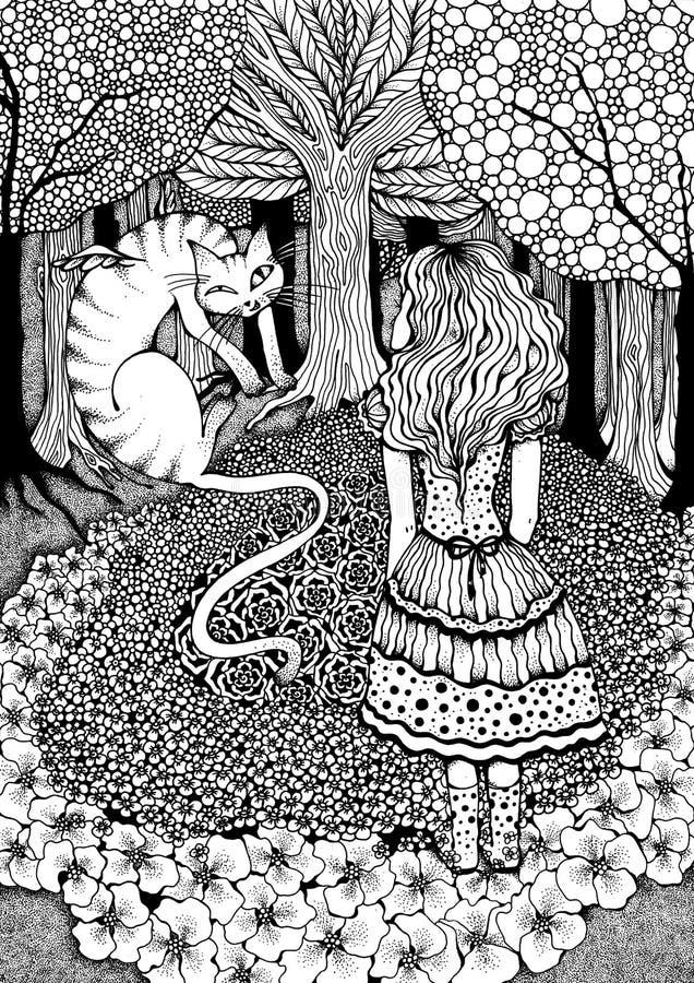 Alice e gato de Cheshire ilustração royalty free