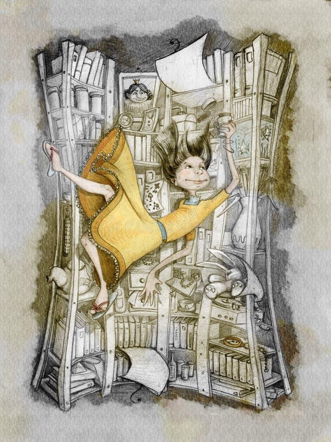 Alice is falling stock illustration