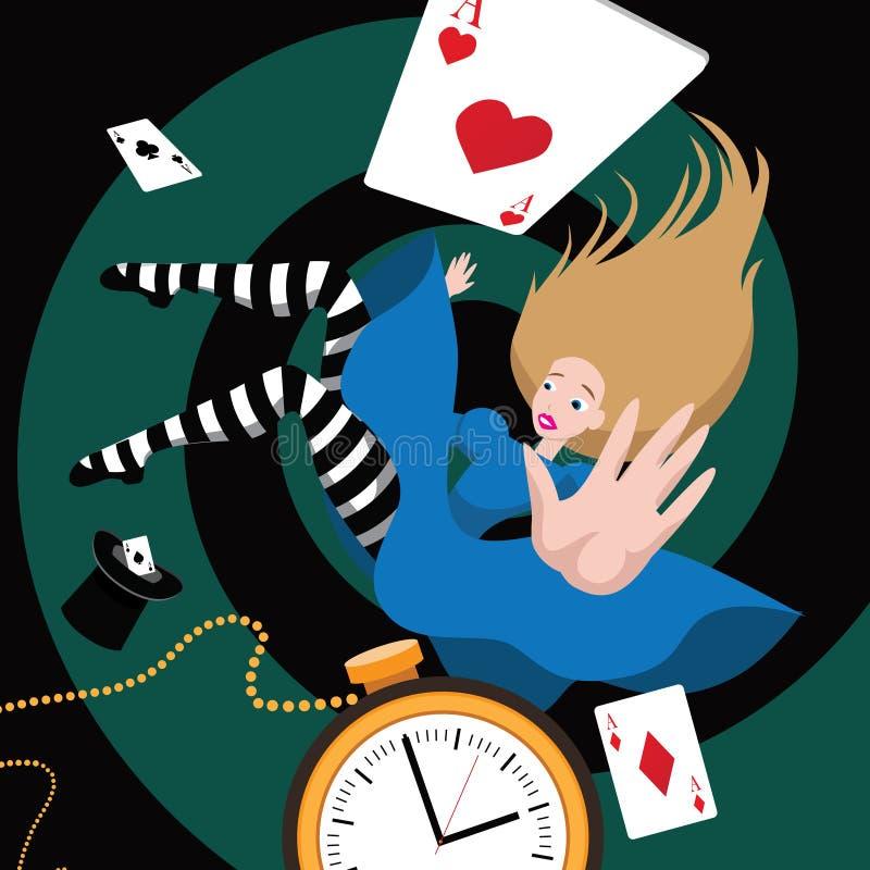 Alice falls down the rabbit hole. stock illustration