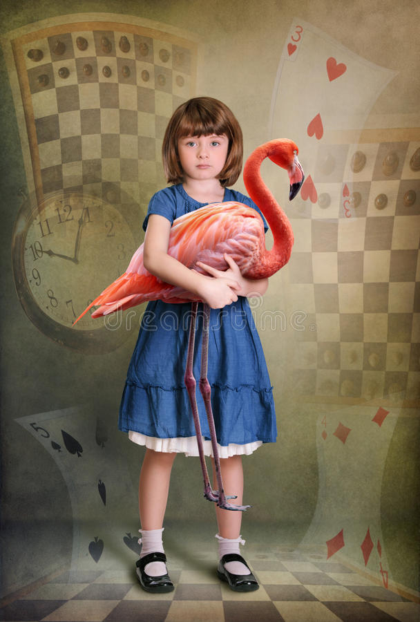 Download Alice and flamingo stock image. Image of vertical, carroll - 22849399