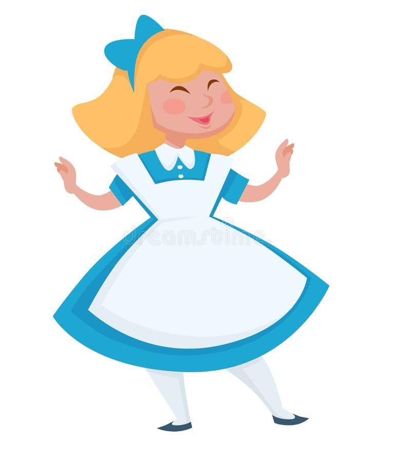 Alice in het hoofdkarakter van het Sprookjesland of meisjesheld royalty-vrije illustratie