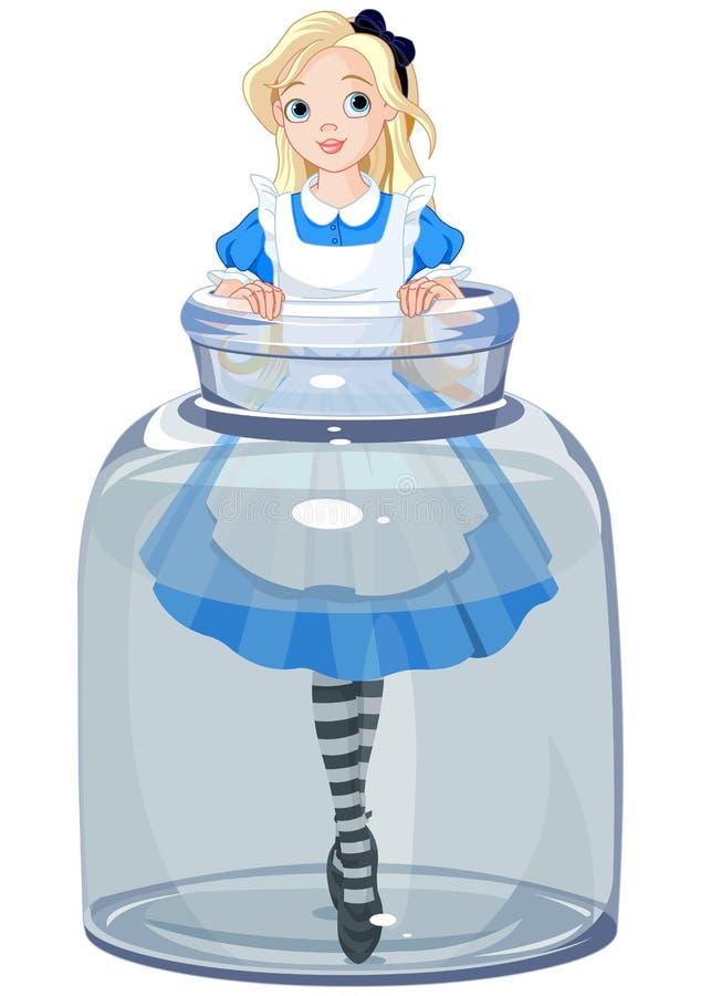 Alice im Glas stock abbildung