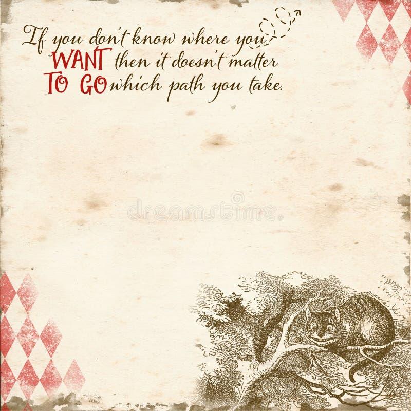 Alice im Märchenland-Hintergrund-Papier - Märchenland-wunderliches Einklebebuch-Papier - Papercrafting - Cheshire Cat stock abbildung