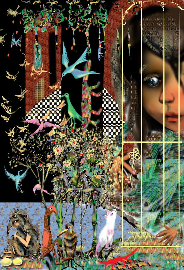 Alice im Märchenland am Kaninchen-Haus lizenzfreie stockbilder