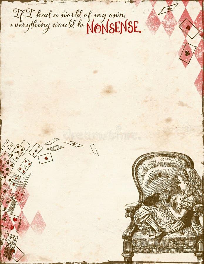 Alice im Märchenland - Unsinn - Alice im Stuhl - Buchstabe-Größen-Hintergrund-Papier lizenzfreie abbildung