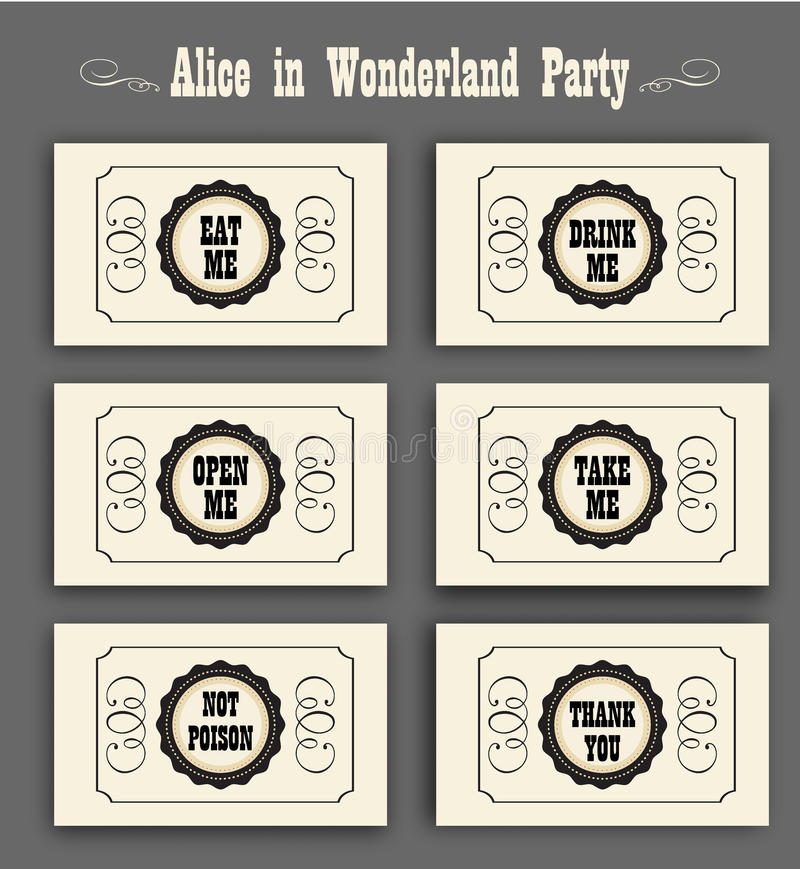 Alice im Märchenlandvektorsatz mit Aufklebern essen mich, trinken mich, öffnen mich, nicht vergiften, danke Ideal für Dekoration lizenzfreie abbildung