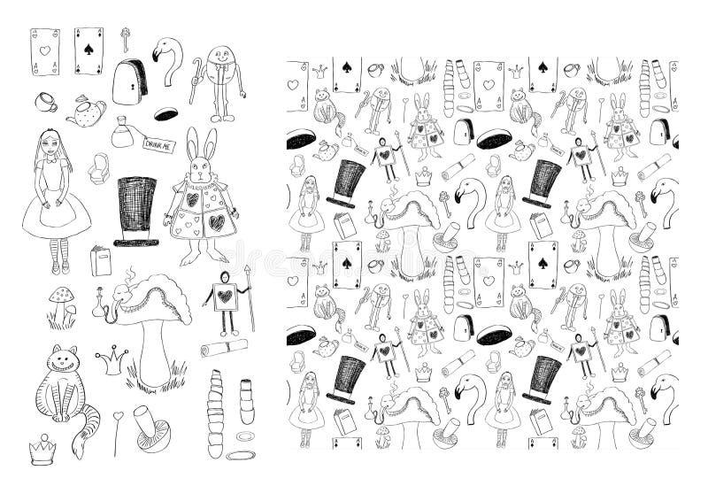 Alice in naadloos Sprookjesland stock illustratie