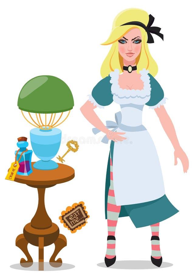 Alice neben der Tabelle mit magischen Gegenständen und Elixier Illustration zu den der Märchen Alices Abenteuern im Märchenlan stock abbildung