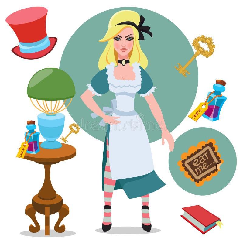 Alice neben der Tabelle mit magischen Gegenständen und Elixier Illustration zu den der Märchen Alices Abenteuern im Märchenlan lizenzfreie abbildung