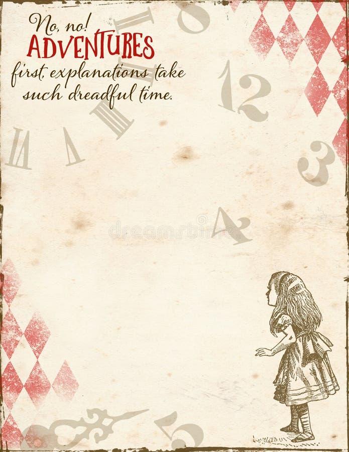 Alice nel paese delle meraviglie - avventura Alice prima ed orologio - documento introduttivo di dimensione della lettera royalty illustrazione gratis